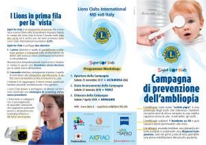 Sight for Kids Campagna di prevenzione dell'ambliopia a Matera - Matera