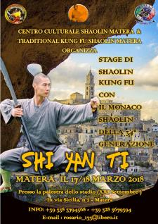 Stage di Shaolin Kung-fu con Shin Yan Ti  - Matera