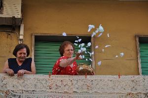 Foto di Francesco Morelli. Una devota lancia petali di rosa al passaggio del Quadro della Madonna