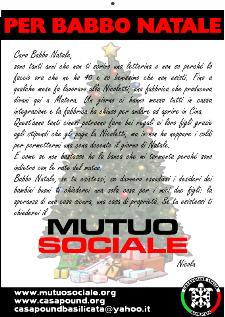 NASCE CASAPOUND ITALIA BASILICATA: LETTERE A BABBO NATALE PER IL MUTUO SOCIALE