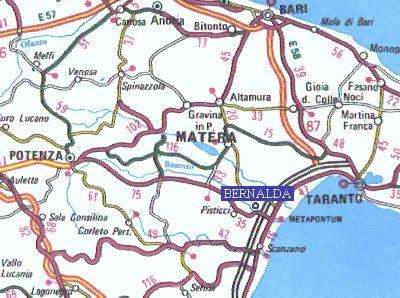La mappa della provincia di Matera