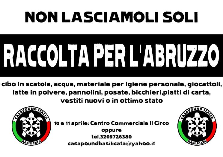 CasaPound Italia Basilicata: Raccolta aiuti per l´Abruzzo