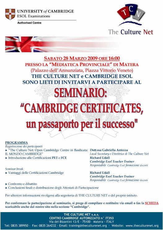 """Al via sabato """"Cambridge Certificates – un passaporto per il futuro"""""""