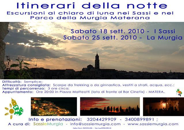 Locandina itinerari della notte del 18 e 25 settembre 2010