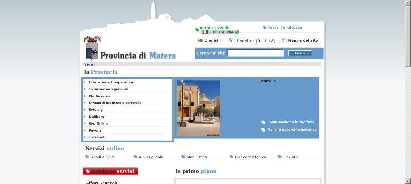 Portale web della Provincia di Matera