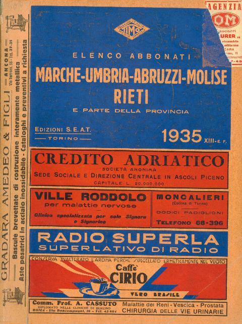 Prima Copertina Elenchi Molise 1935