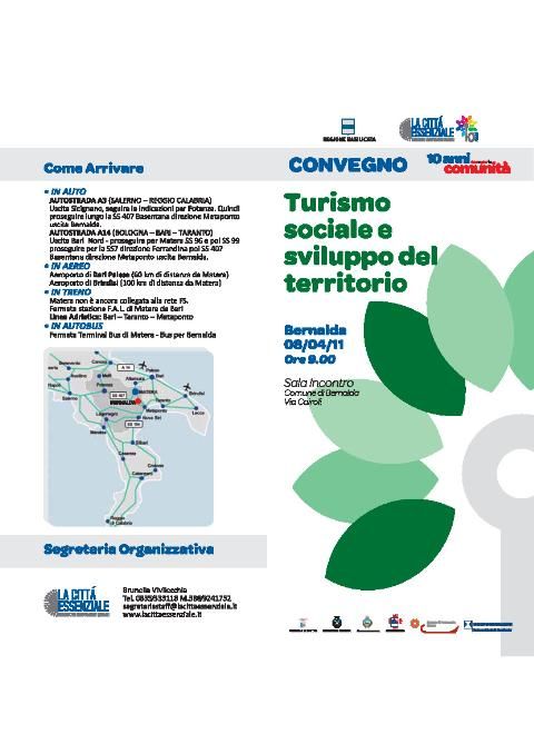CONVEGNO TURISMO SOCIALE E SVILUPPO DEL TERRITORIO - 8 aprile 2011