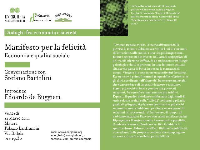"""Energheia - invito del """"Manifesto per la felicità"""" - 11 marzo 2011"""