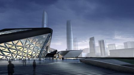guangzhou opera house. Architetto Zaha Hadid