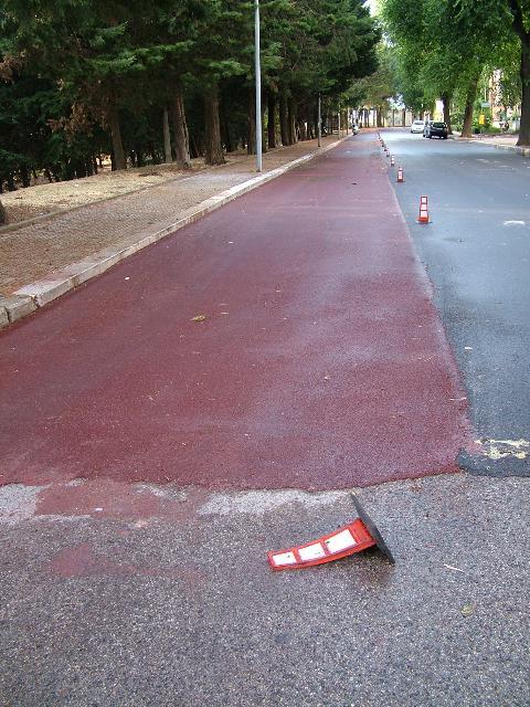 la nuova pista ciclabile con i birilli già saltati (foto Martemix)
