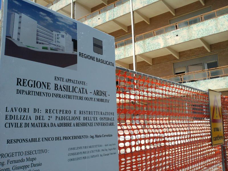 Lavori per residenza studenti universitari a Matera