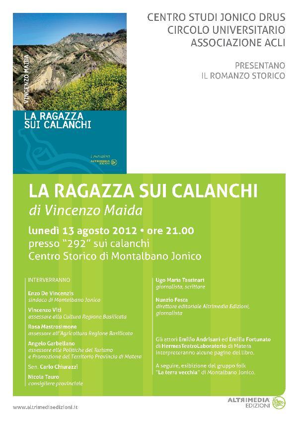 """Presentazione de """"LA RAGAZZA SUI CALANCHI"""" - 13 agosto 2012"""