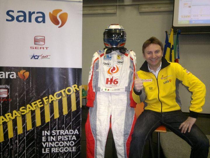 Sara Safe Factor a Matera con il pilota di Formula 1 Andrea Montermini