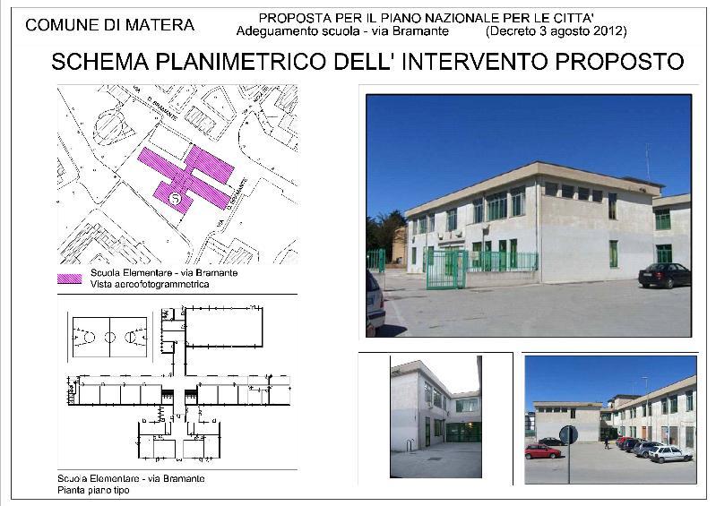 Schema planimetrico della scuola di via Bramante