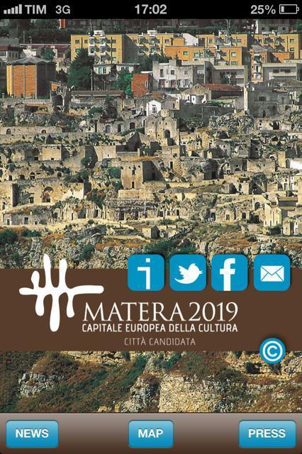 Schermata dell´App per Matera 2019