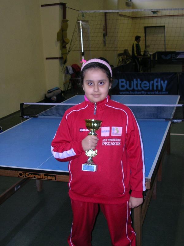 Tennistavolo Basilicata - Torneo 5 febbraio 2012 Tennistavolo Pegasus Primo classificato categoria giovanissimi femminile Sara D´Ercole della Pegasus