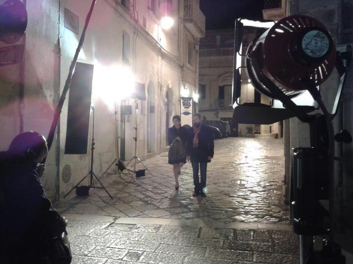 Una scena delle riprese girate in centro (Foto Emanuele Braia) - 13 novembre 2012