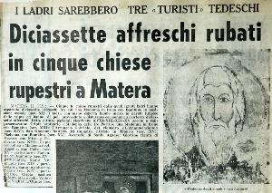 Articolo de Il Paese del 12 maggio 1962, in cui viene data notizia dei furti e corredato dalla stessa immagine - Matera