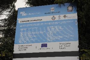 Cartello del cantiere al Campo Scuola di Matera - Matera
