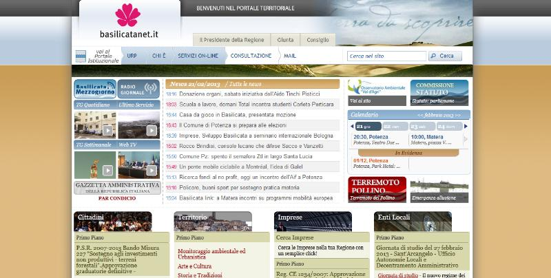 Homepage di Basilicatanet.it