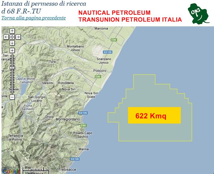 Istanza di ricerca idrocarburi nel Mar Jonio