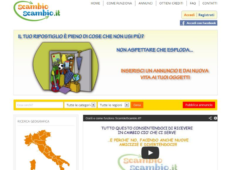 La homepage di scambioscambio.it
