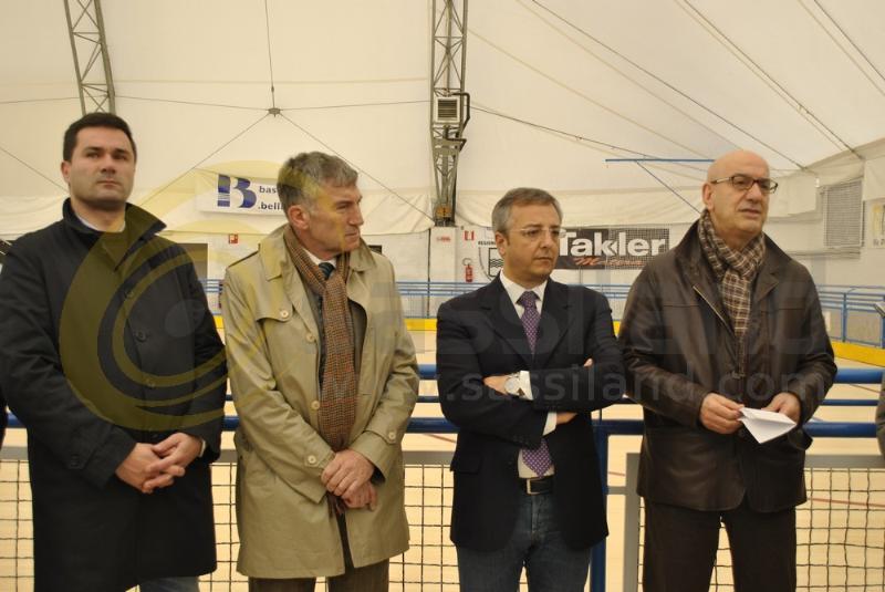 Sergio Cappella, Adriano Pedicini, Nicola Trombetta e Salvatore Adduce alla conferenza stampa per i lavori di riqualificazione della tensostruttura di via Dei Sanniti