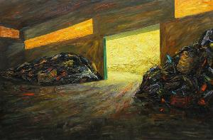 03) Mimmo Centonze - Capannone, ferro vecchio, 2009 - Olio e alchidico su ferro - 125x190 cm - Matera