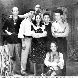 2.ll gruppo «Forma 1», Roma, 1947. Da sinistra: Pietro Consagra, Mino Guerrini, Ugo Attardi, Carla Accardi, Achille Perilli, Antonio Sanfilippo e Piero Dorazio