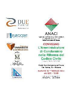 L'Amministratore di Condominio nella Riforma del Codice Civile - 16 febbraio 2013 - Matera