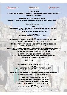 LE NUOVE REGOLE DEL CONCORDATO PREVENTIVO - 1 e 2 febbraio 2013 - Matera