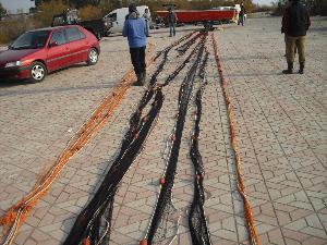 Rete tipo sciabica della lunghezza di 130 metri