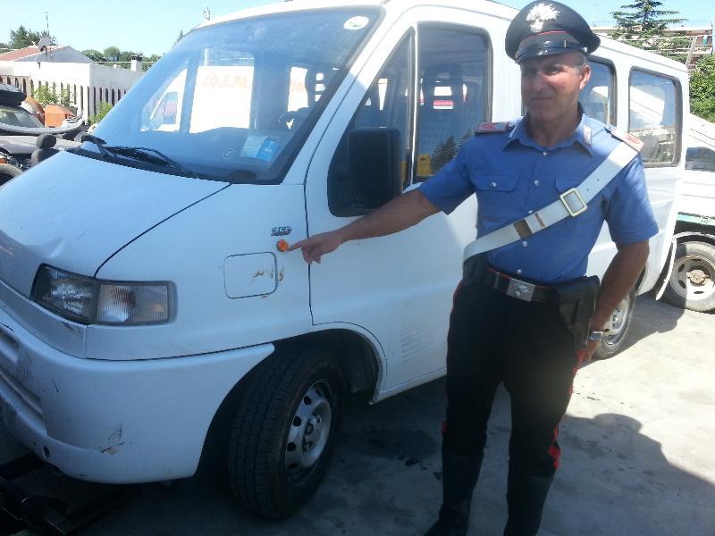 Il furgone utilizzato per investire i due albanesi