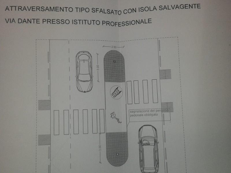 Progetto per un attraversamento sfalsato con isola salvagente in via Dante - Matera