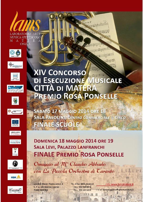 """XIV Concorso di Esecuzione Musicale """"Città di Matera –Premio Rosa Ponselle"""""""