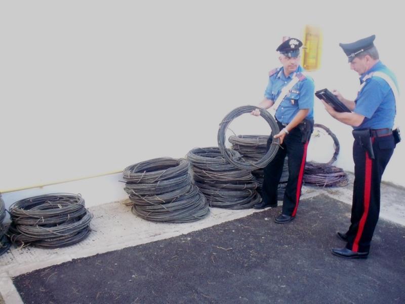 Carabinieri recuperano 1200 chilogrammi di rame