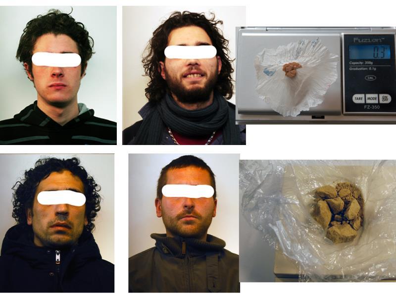 Gli arrestati e la droga sequestrata - 16 febbraio 2015