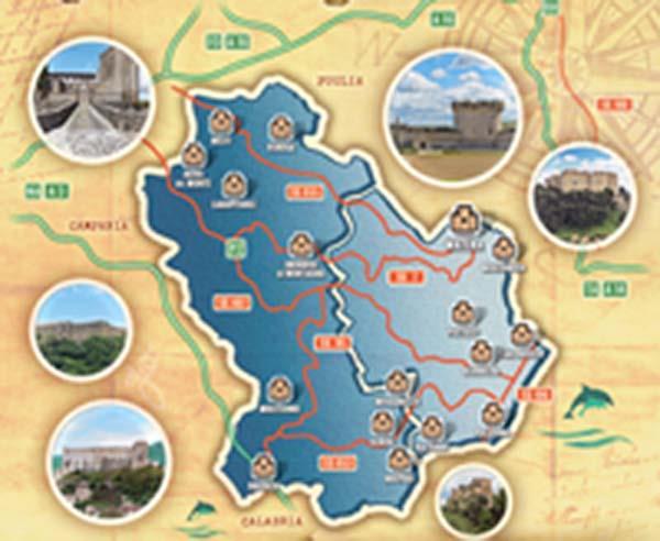 Mappa dei Castelli di Basilicata