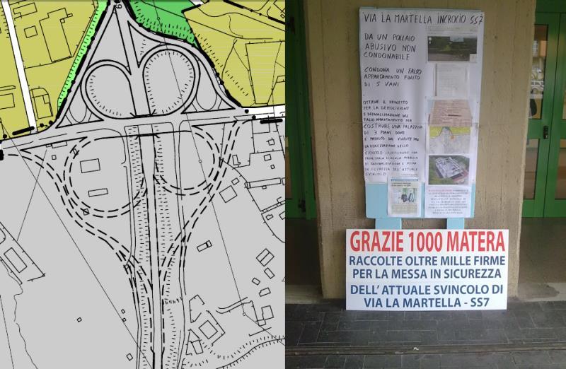 Schema dello svincolo e foto della protesta davanti al Comune di Matera