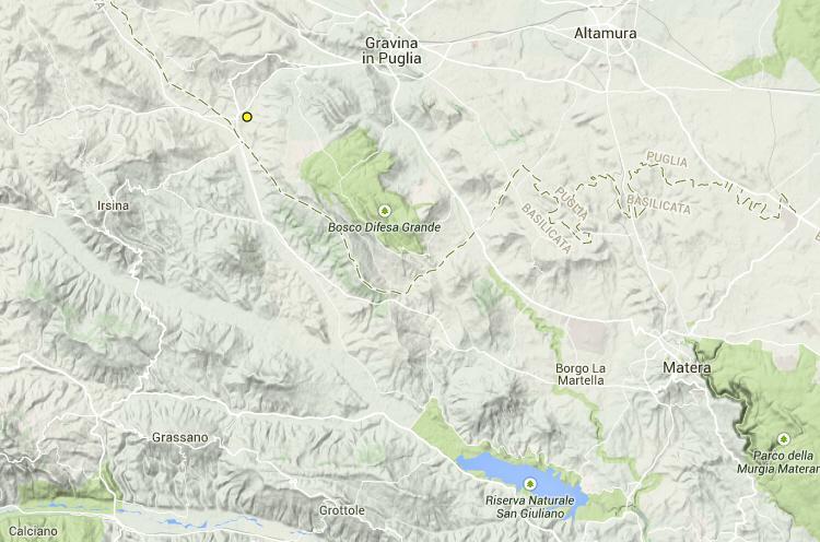 Scossa sismica vicino Matera - 20 gennaio 2015
