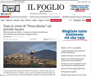 """Articolo de """"Il Foglio"""" - Matera"""