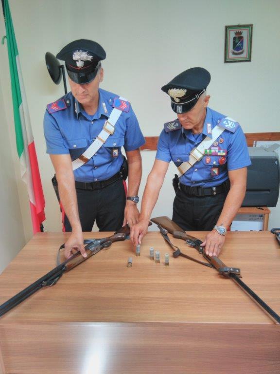 Fucili sequestrati dai Carabinieri di Ferrandina