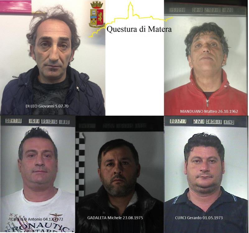 I 5 arrestati dalla Polizia per la tentata rapina alla gioielleria di Matera