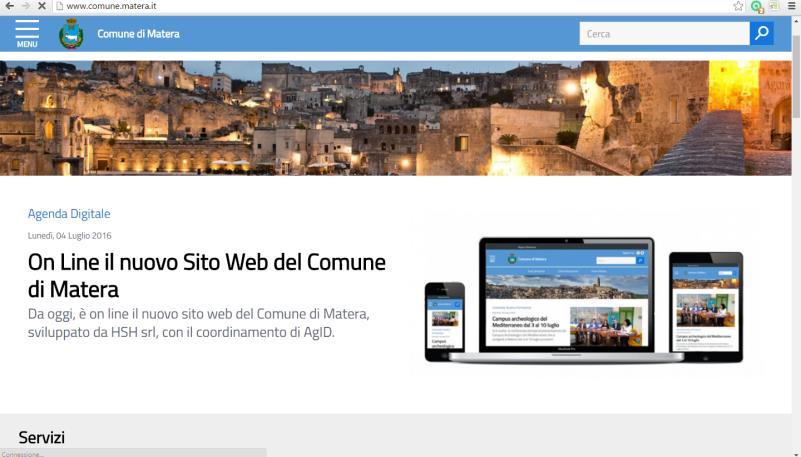 Il nuovo sito internet del Comune di Matera