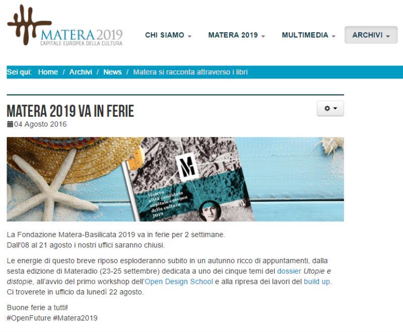Matera 2019 va in ferie