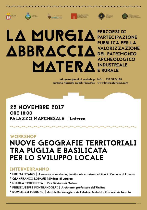 """Progetto """"La Murgia abbraccia Matera"""": Eventi in programma a Laterza"""