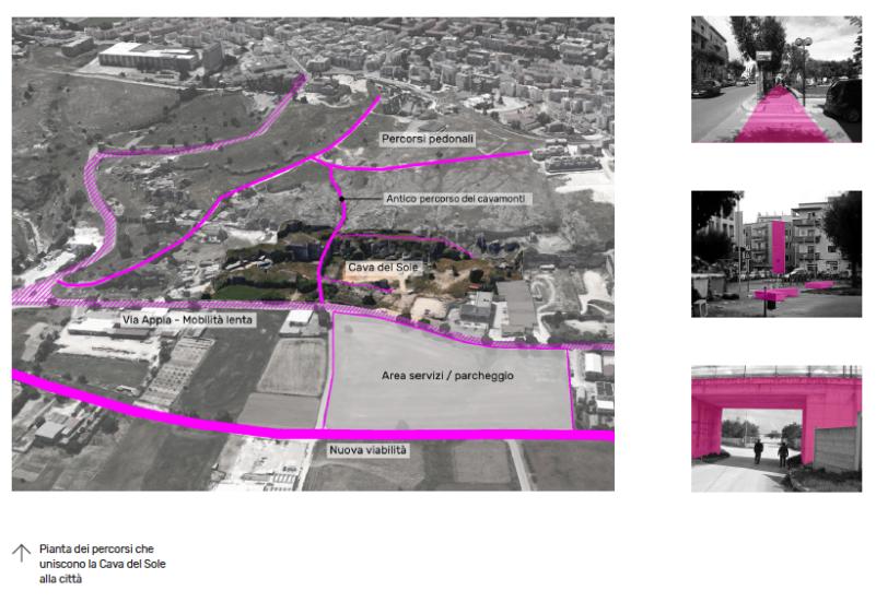 Studio dei percorsi di connessione tra Piccianello e l´area delle Cave (Open Design School, Fondazione Matera-Basilicata 2019)