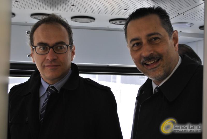 Aldo Berlinguer e Marcello Pittella - Presentazione nuovi treni Ferrovie Appulo Lucane - 4 aprile 2014 (foto SassiLand)