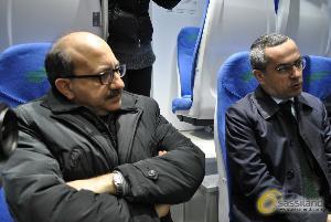 Da sinistra Cosimo Latronico e Matteo Colamussi. Presentazione nuovi treni Ferrovie Appulo Lucane - 4 aprile 2014 (foto SassiLand) - Matera